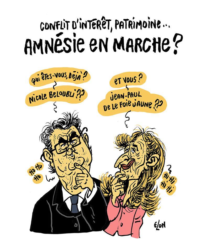 dessin humoristique de Glon sur les oublis de patrimoine et conflits d'intérêts de Nicole Belloubet et Jean-Paul Delevoye