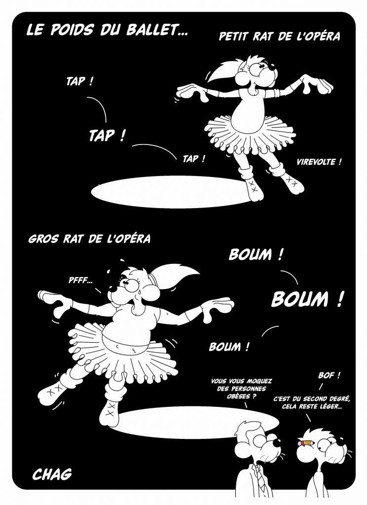 dessin d'humour de Chag sur les petits rats de l'Opéra et la grossophobie