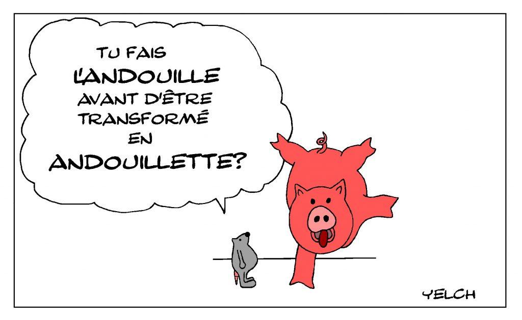 dessin de Yelch sur les cochons, les andouilles et andouillettes