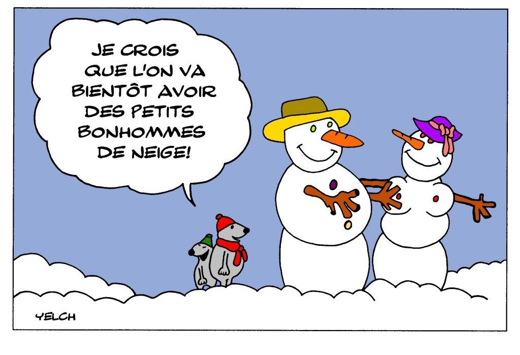 dessin de Yelch sur les bonhommes de neige