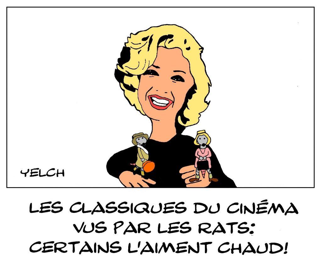 dessin de Yelch sur les classiques du cinéma et Certains l'aiment chaud