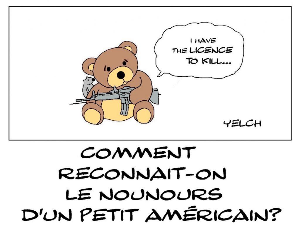 dessin de Yelch sur les ours en peluche aux États-Unis et la libre circulation des armes