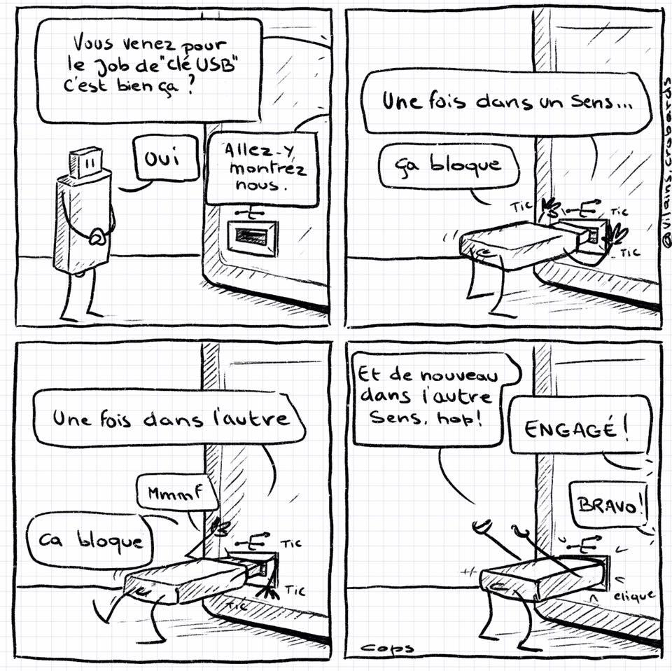 dessin de Cops sur les ordinateurs et les clés USB
