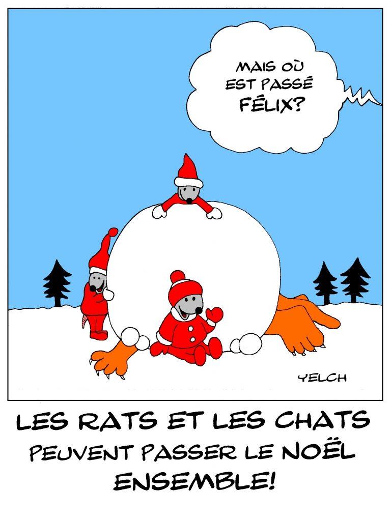 dessin de Yelch sur les chats, les rats et la trêve de Noël