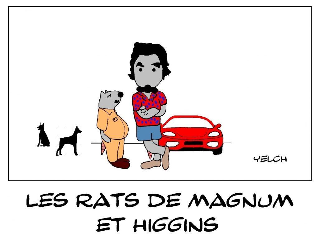 dessin de Yelch sur la série télévisée Magnum