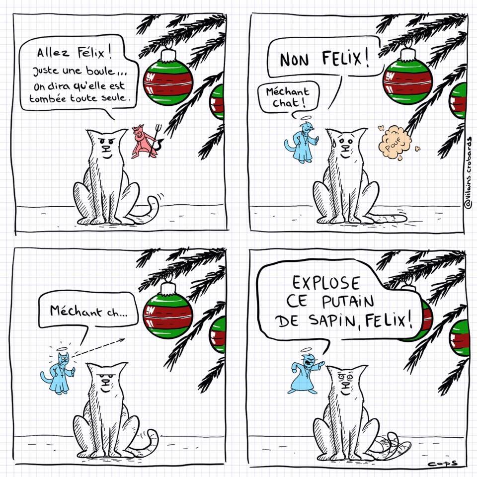 dessin de Cops sur les chats et les sapins de Noël