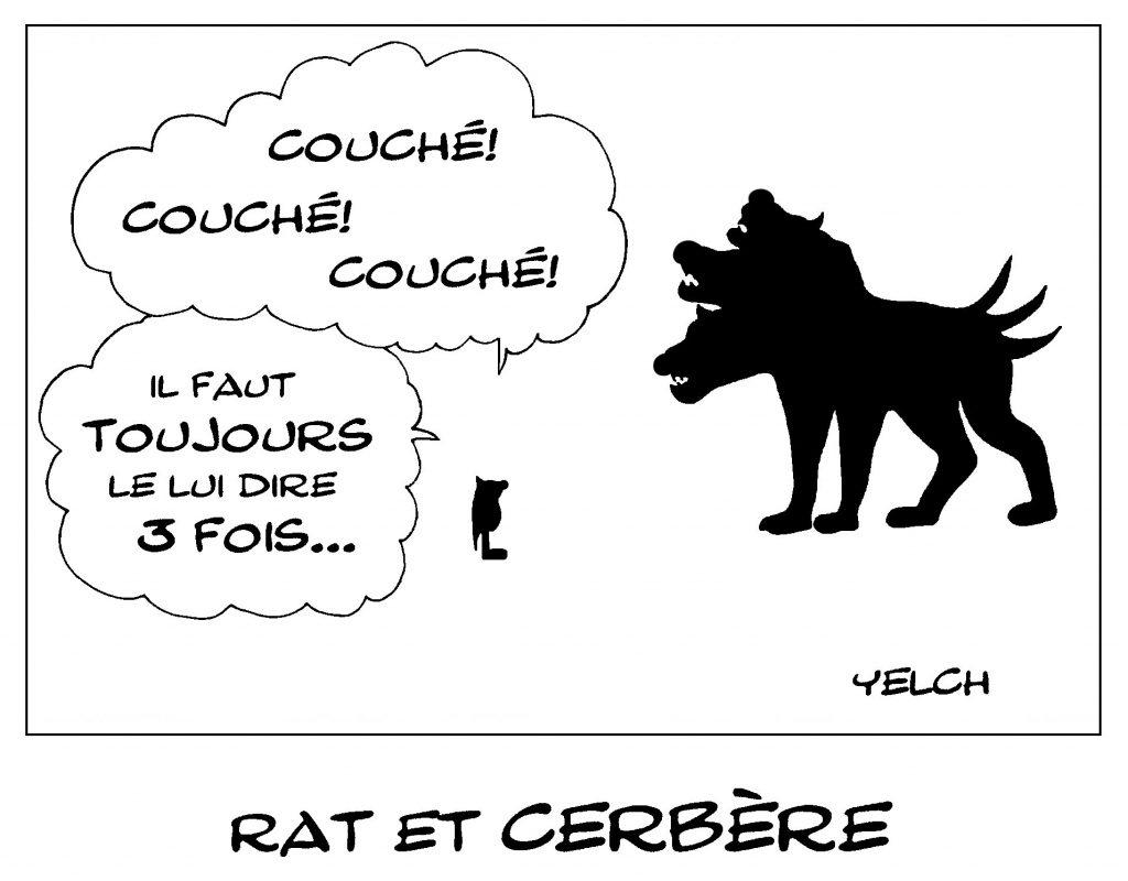 dessin de Yelch sur Cerbère, le gardien des enfers