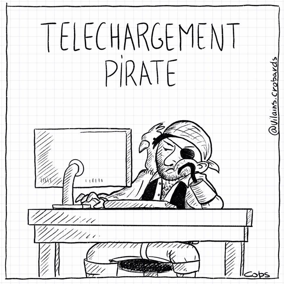 dessin de Cops sur les pirates et les téléchargements pirates