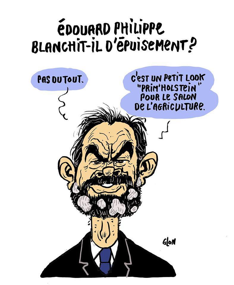 dessin humoristique de Glon sur l'épuisement d'Édouard Philippe et le blanchiment de sa barbe