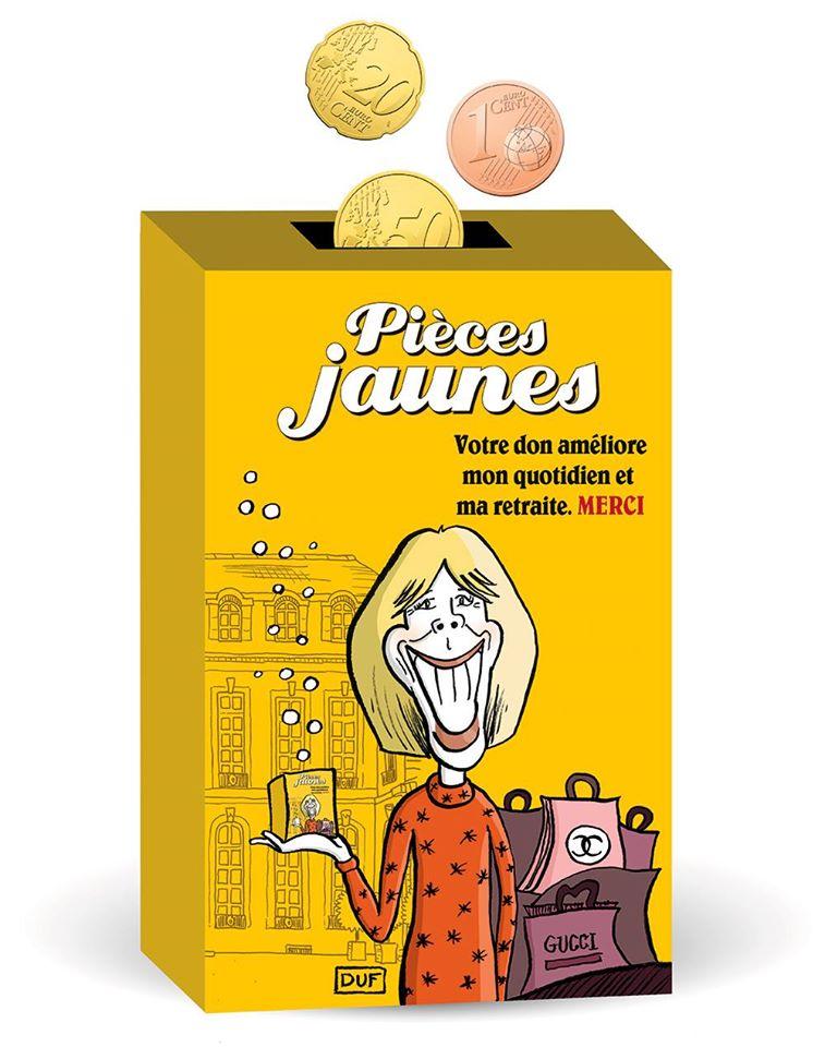 dessin d'actualité humoristique sur Brigitte Macron et l'opération pièces jaunes