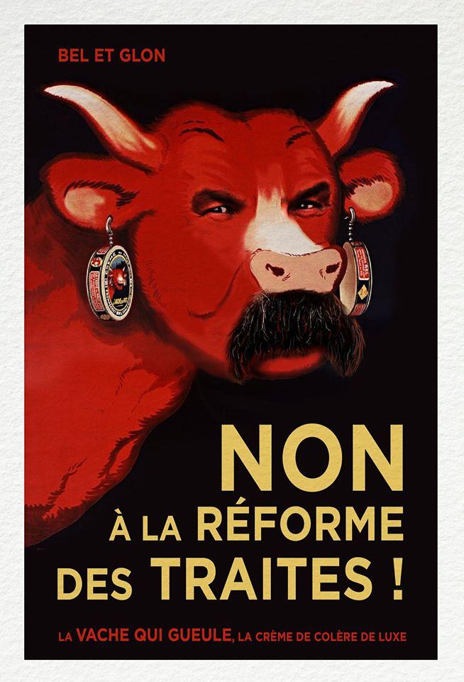 dessin humoristique de Glon sur Philippe Martinez, La Vache Qui Rit et la réforme des retraites