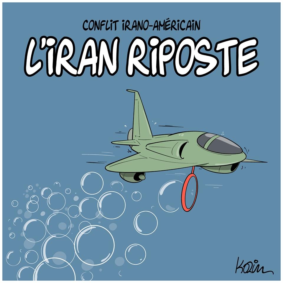 dessin d'actualité humoristique de Karim sur le conflit Irano-Américain et la riposte de l'Iran