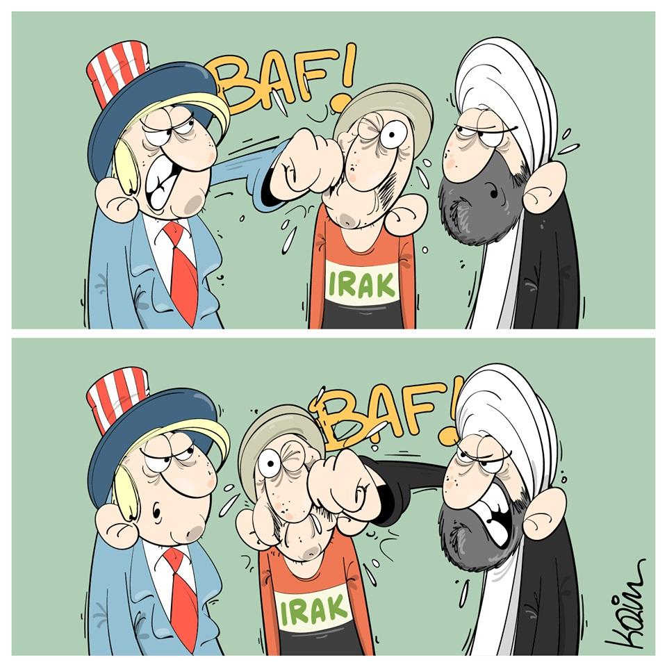 dessin d'actualité humoristique de Karim sur le conflit Irano-Américain