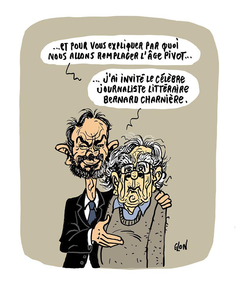 dessin humoristique de Glon sur Édouard Philippe, Bernard Pivot et l'abandon de l'âge pivot