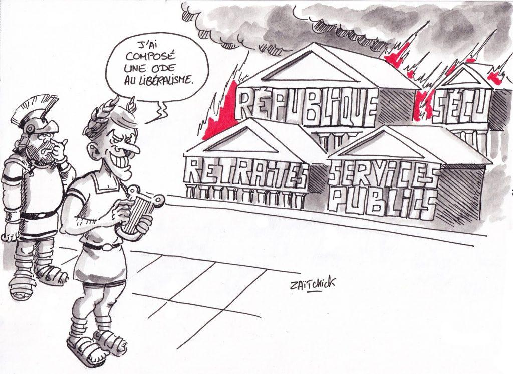 dessin de Zaïtchick sur Emmanuel Macron en Néron qui regarde la république brûler