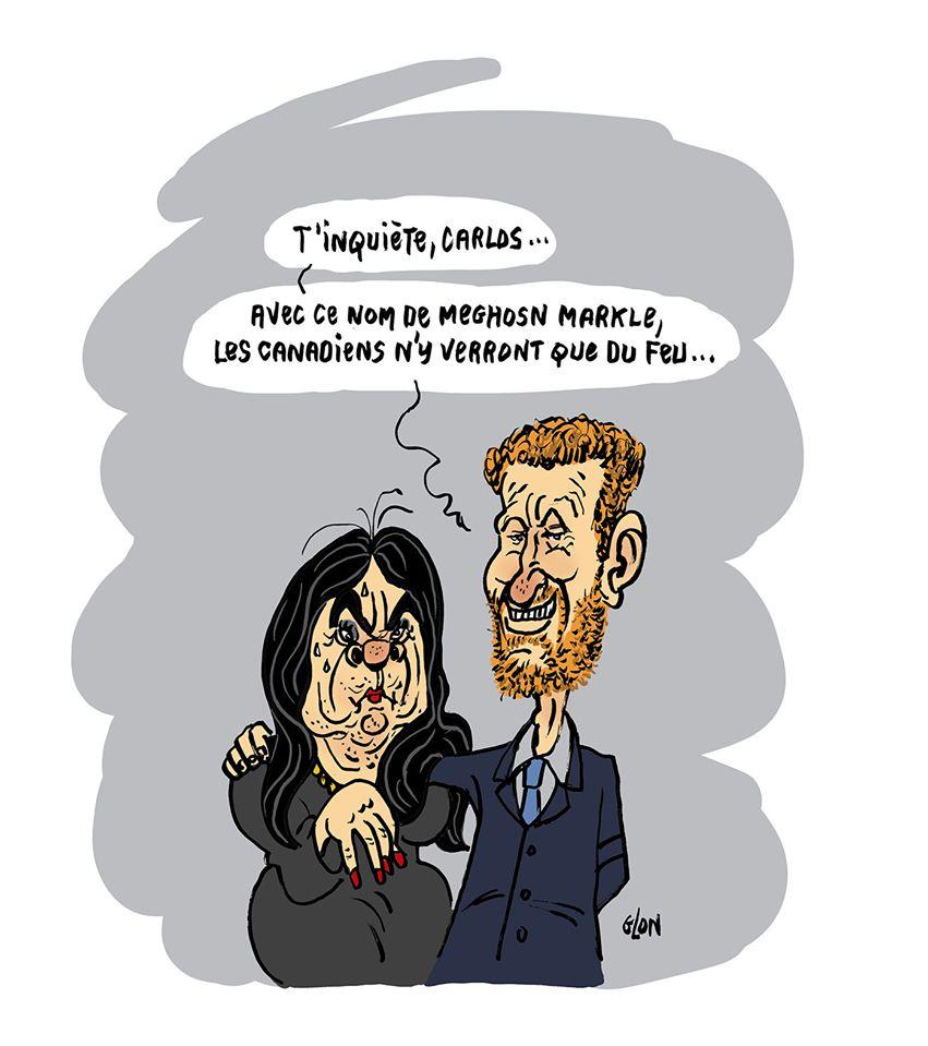 dessin humoristique de Glon sur le retrait de la vie royale de Meghan Markle et du Prince Harry, ainsi que sur la fuite de Carlos Ghosn