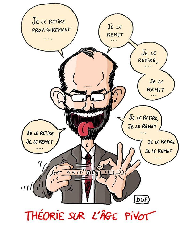 dessin d'actualité humoristique sur Édouard Philippe et le retrait de l'âge pivot dans la réforme des retraites