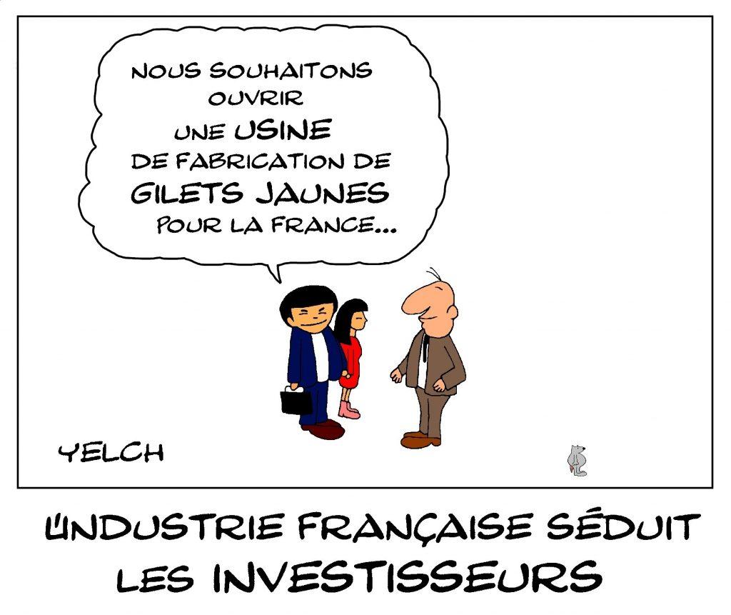 dessin de Yelch sur l'industrie française et les investisseurs étrangers