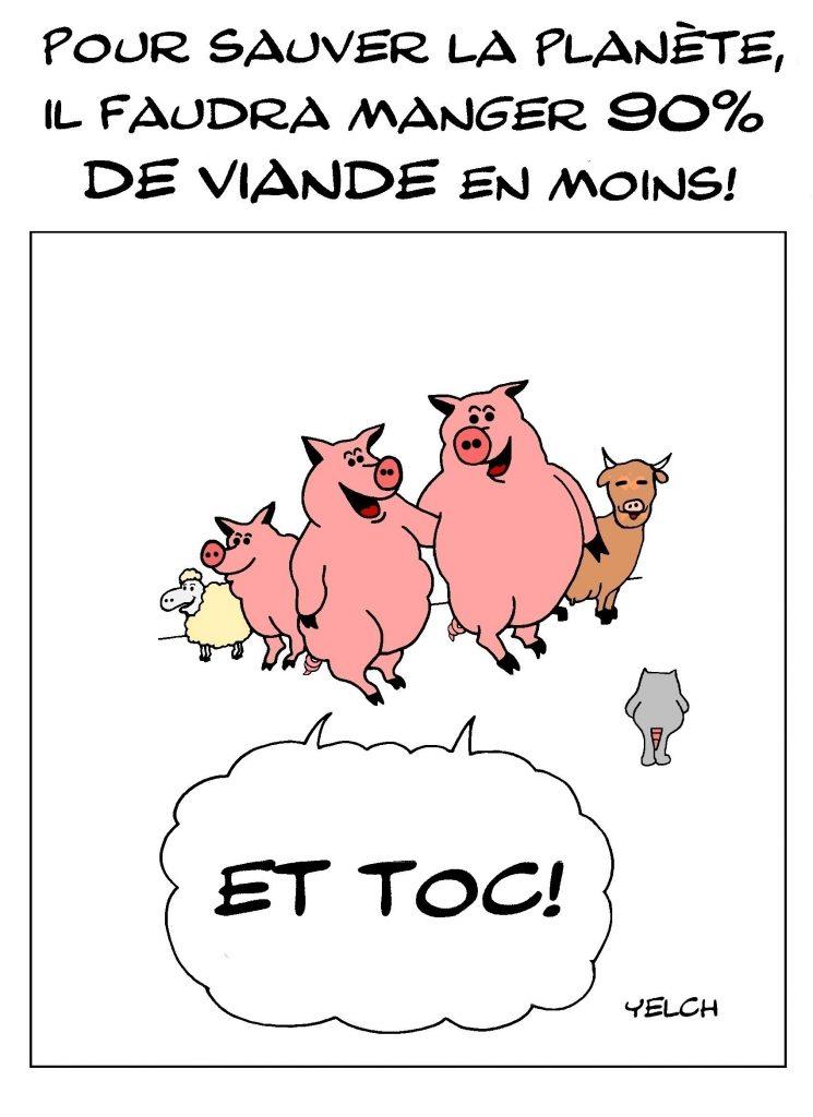 dessin de Yelch l'écologie et l'alimentation carnée