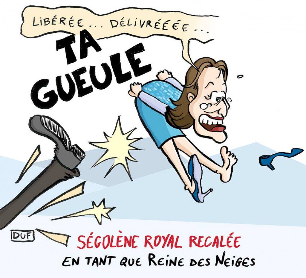 dessin d'actualité humoristique de Duf sur le licenciement de Ségolène Royal de ses fonctions d'ambassadrice des pôles