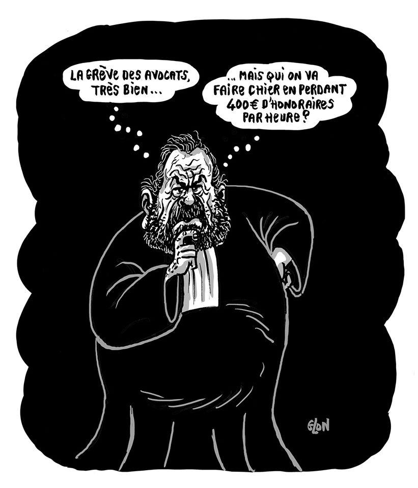 dessin humoristique de Glon sur la grève des avocats et Éric Dupond-Moretti