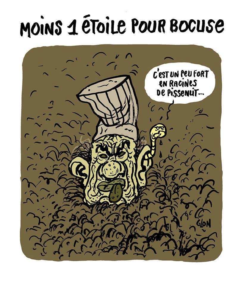 dessin humoristique de Glon sur la perte d'une étoile du restaurant Paul Bocuse dans le Guide Michelin