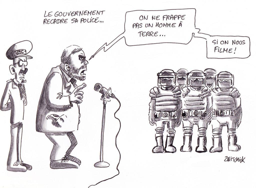dessin de Zaïtchick sur Christophe Castaner et le préfet Lallement recadrant les policiers