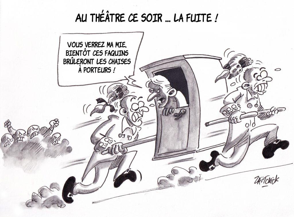 dessin de Zaïtchick sur Emmanuel Macron fuyant les manifestants dans une chaise à porteurs