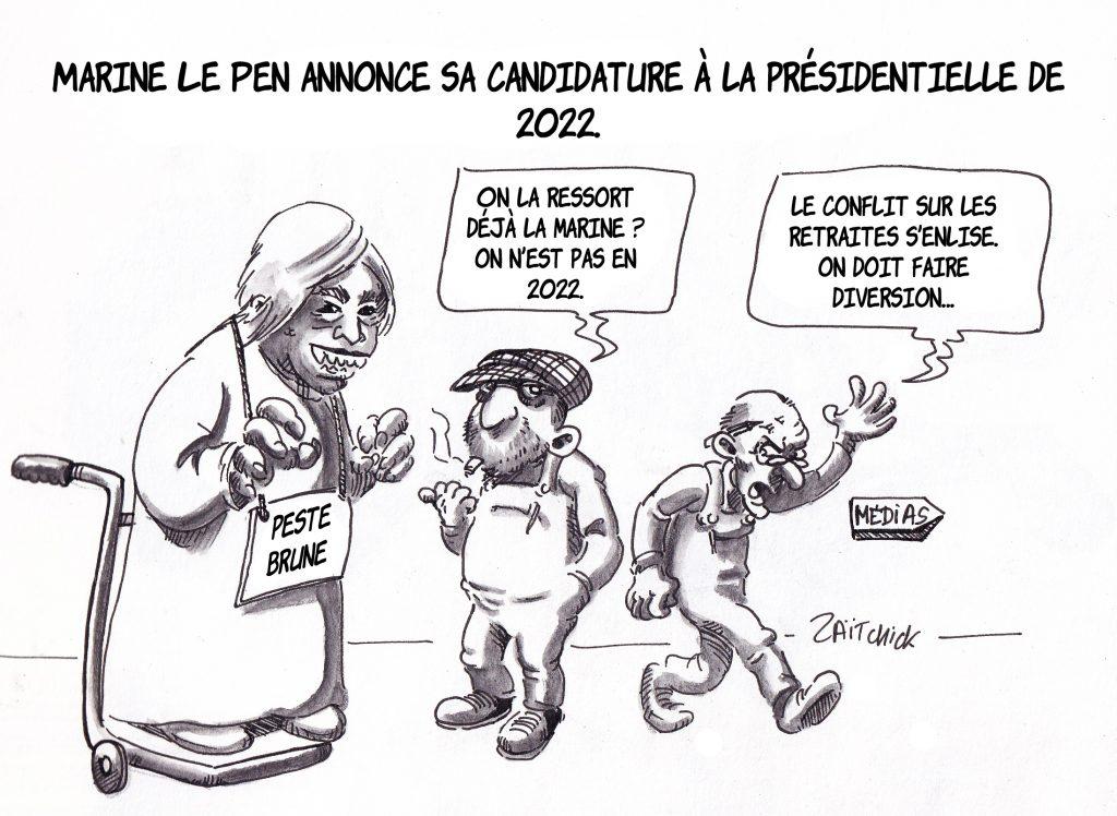 dessin de Zaïtchick sur Marine Le Pen, épouvantail de la présidentielle 2022