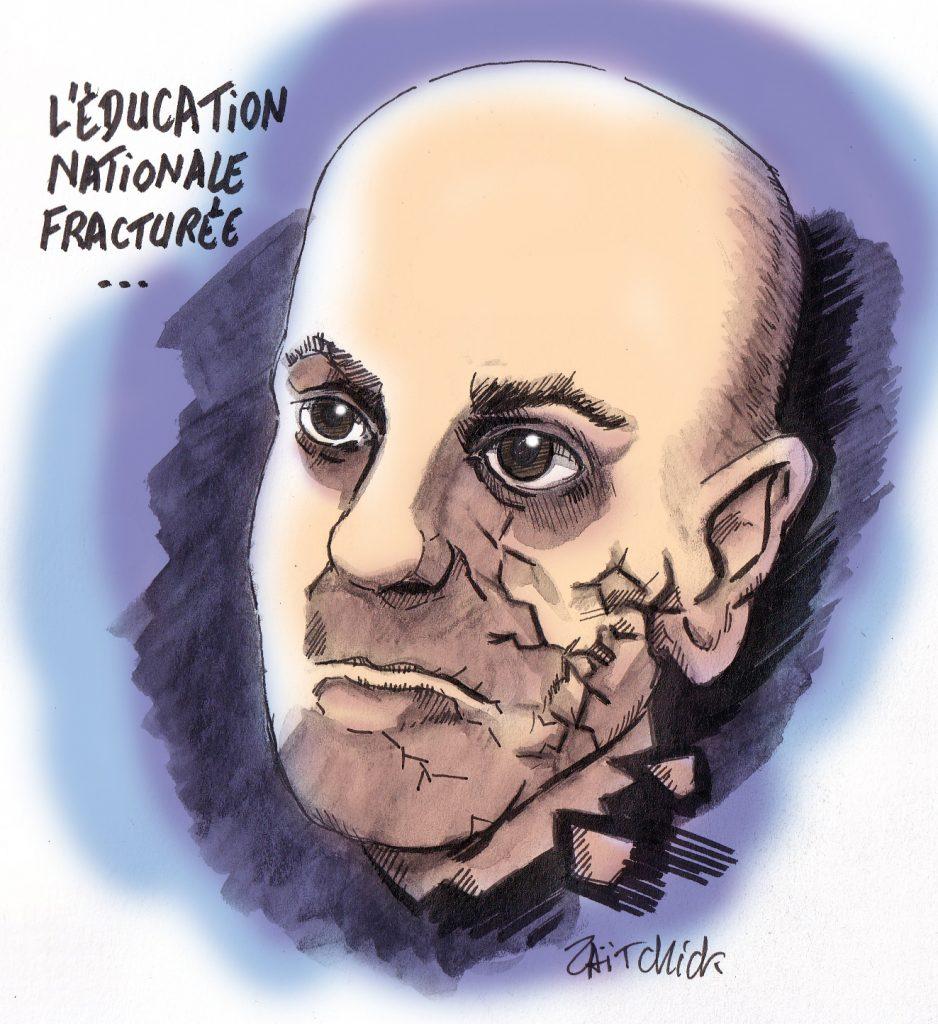 dessin de Zaïtchick sur Jean-Michel Blanquer, ministre de l'éducation nationale fracturée
