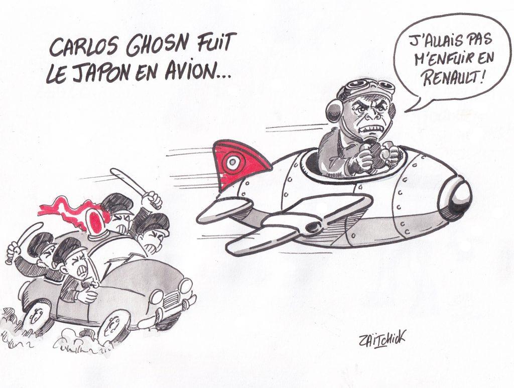 dessin de Zaïtchick sur Carlos Ghosn échappant à la police japonaise en avion