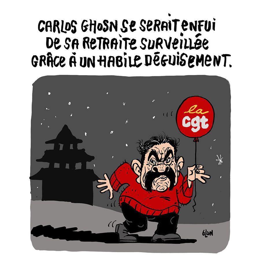dessin humoristique de Glon sur l'évasion et la fuite de Carlos Ghosn du Japon