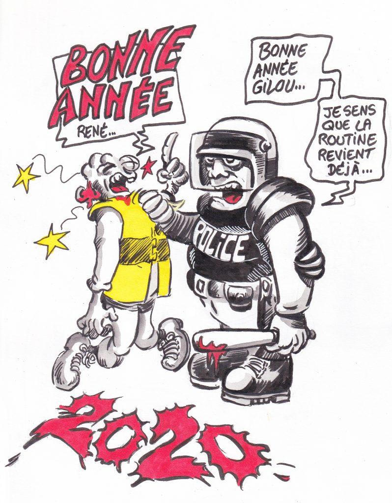 dessin de Zaïtchick sur Gilou le gilet jaune qui souhaite une bonne année à René le CRS