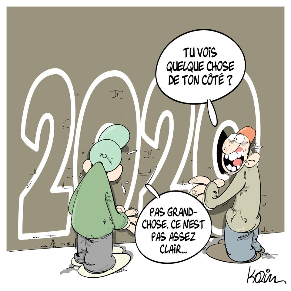 dessin d'actualité humoristique de Karim sur la nouvelle année 2020