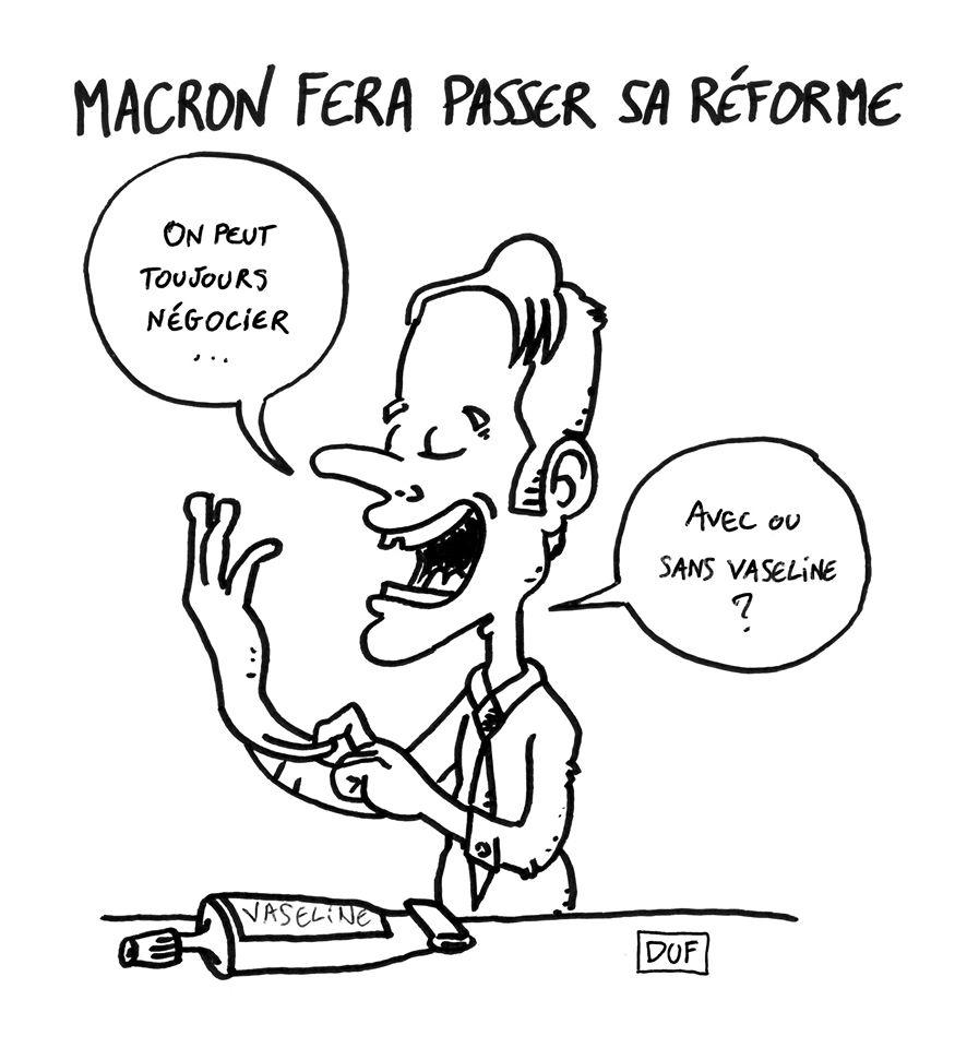dessin d'actualité humoristique sur Emmanuel Macron et la réforme des retraites