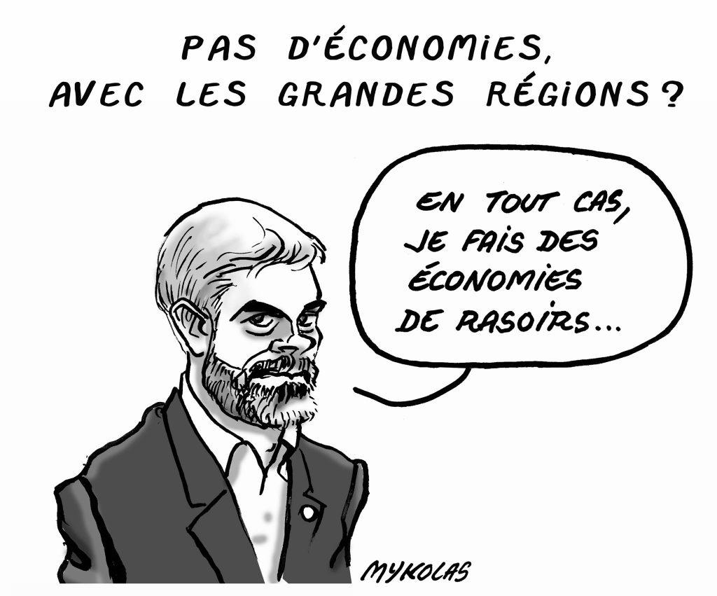 dessin d'actualité humoristique de Mykolas sur Laurent Wauquiez et les économies générées par les regroupements de régions françaises