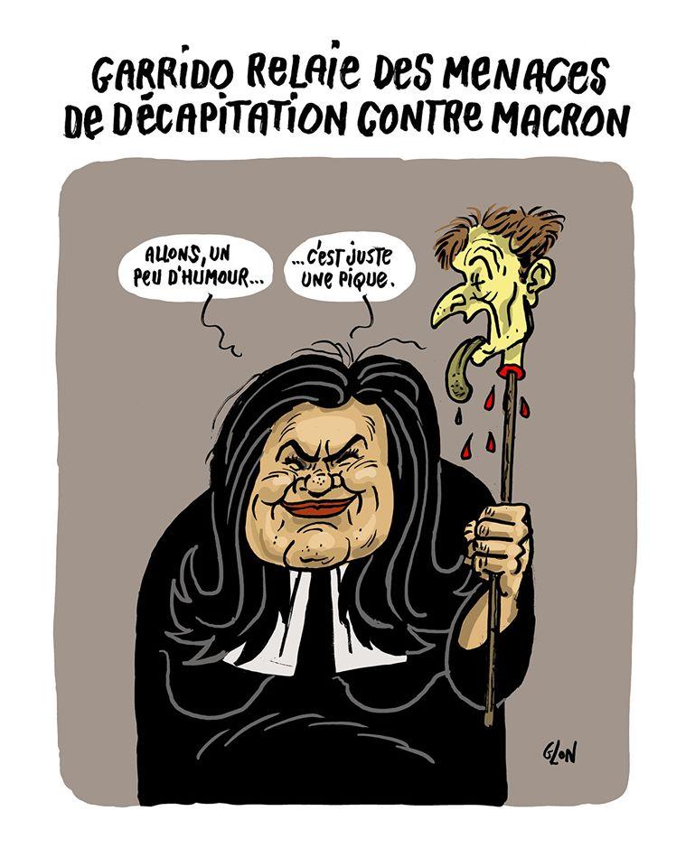 dessin humoristique de Glon sur les menaces de décapitation envers Emmanuel Macron relayées par Raquel Garrido