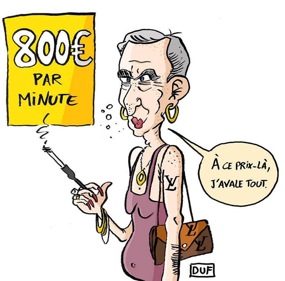 dessin d'actualité humoristique de Duf sur les revenus indécents de Bernard Arnault