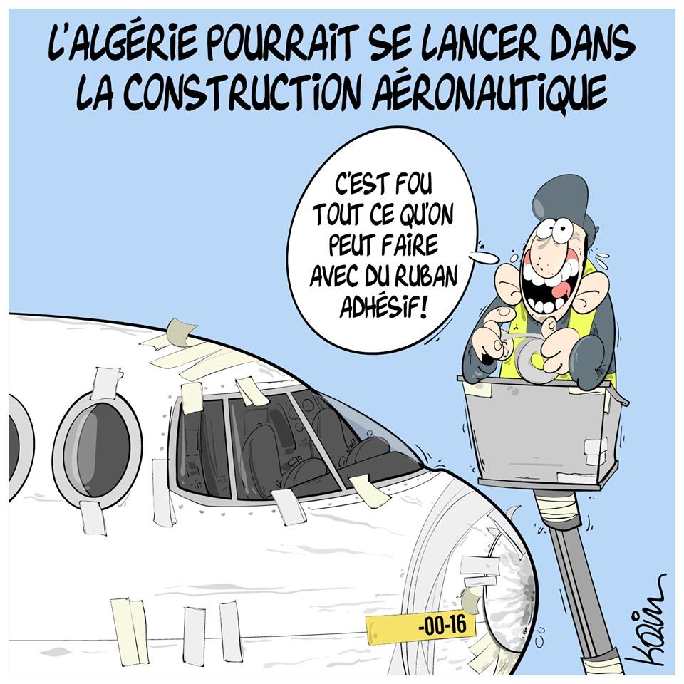 dessin d'actualité humoristique de Karim sur la volonté de l'Algérie de se lancer dans la construction aéronautique