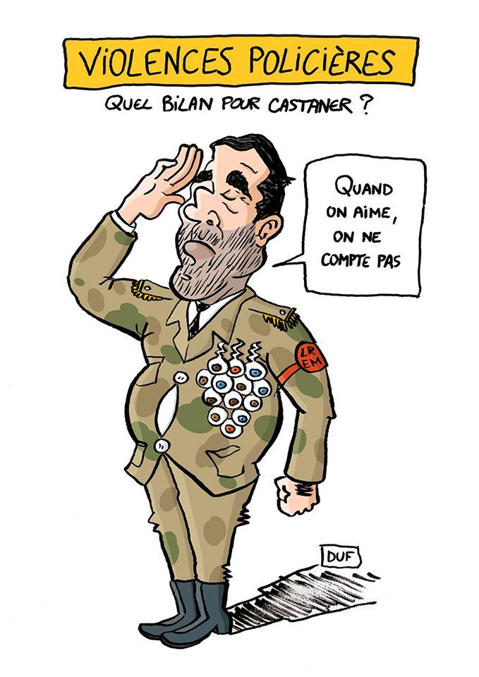 dessin d'actualité humoristique de Duf sur le bilan des violences policières et Christophe Castaner