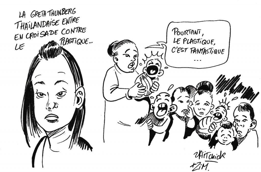 dessin humoristique de Zaïtchick sur la Greta Thunberg thaïlandaise