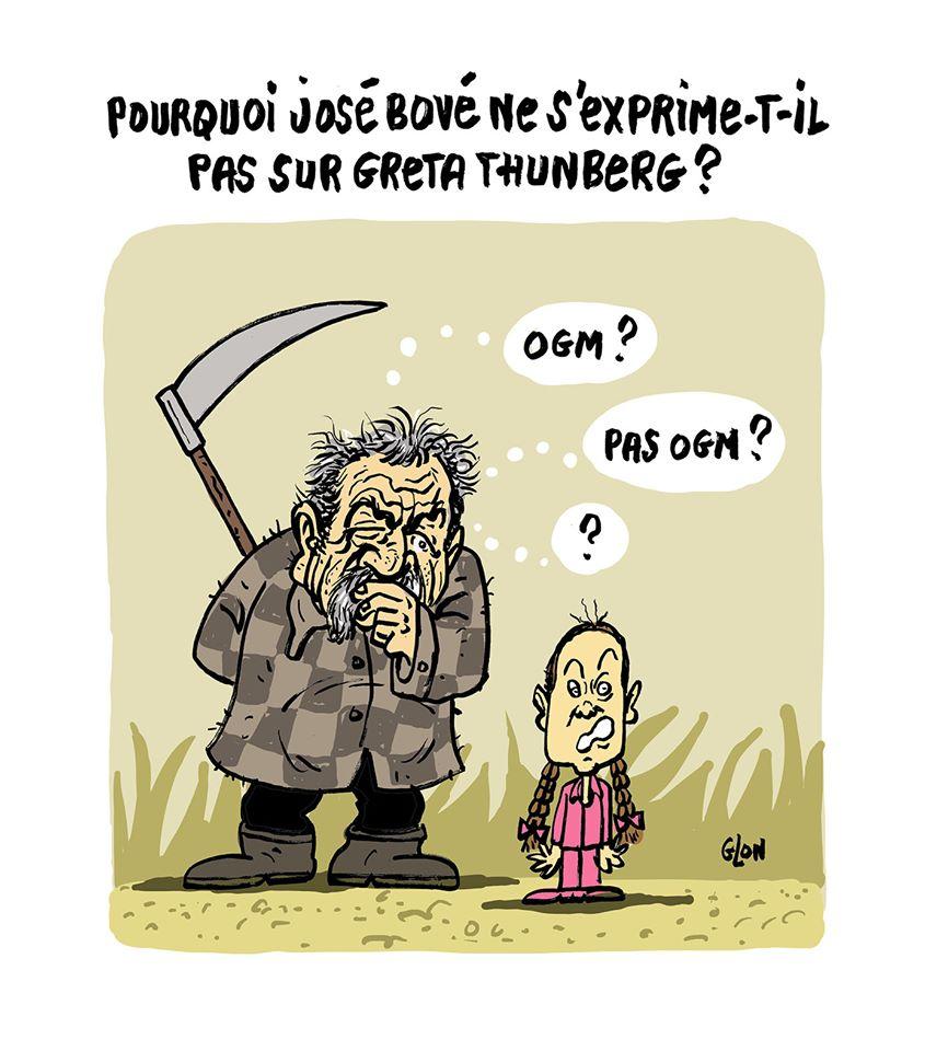 dessin humoristique de Glon sur le silence de José Bové sur Greta Thunberg