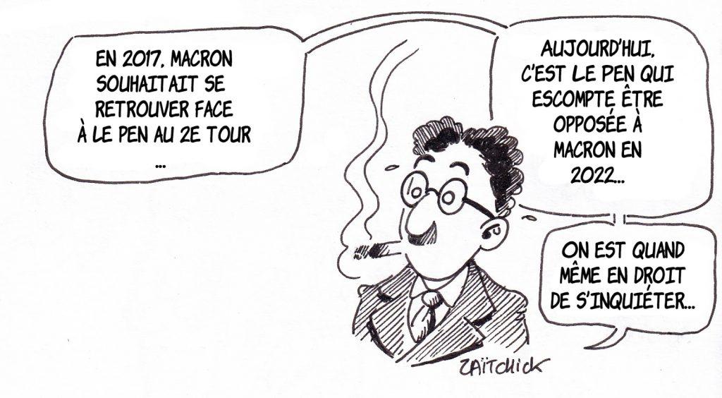 dessin de Zaïtchick sur Groucho qui spécule sur l'affrontement Le Pen-Macron en 2022