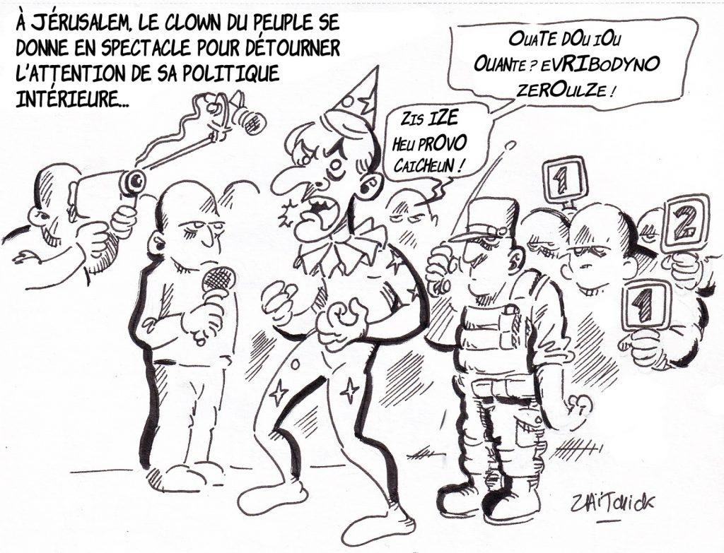 dessin de Zaïtchick sur Emmanuel Macron en clown imitant Chirac à Jérusalem