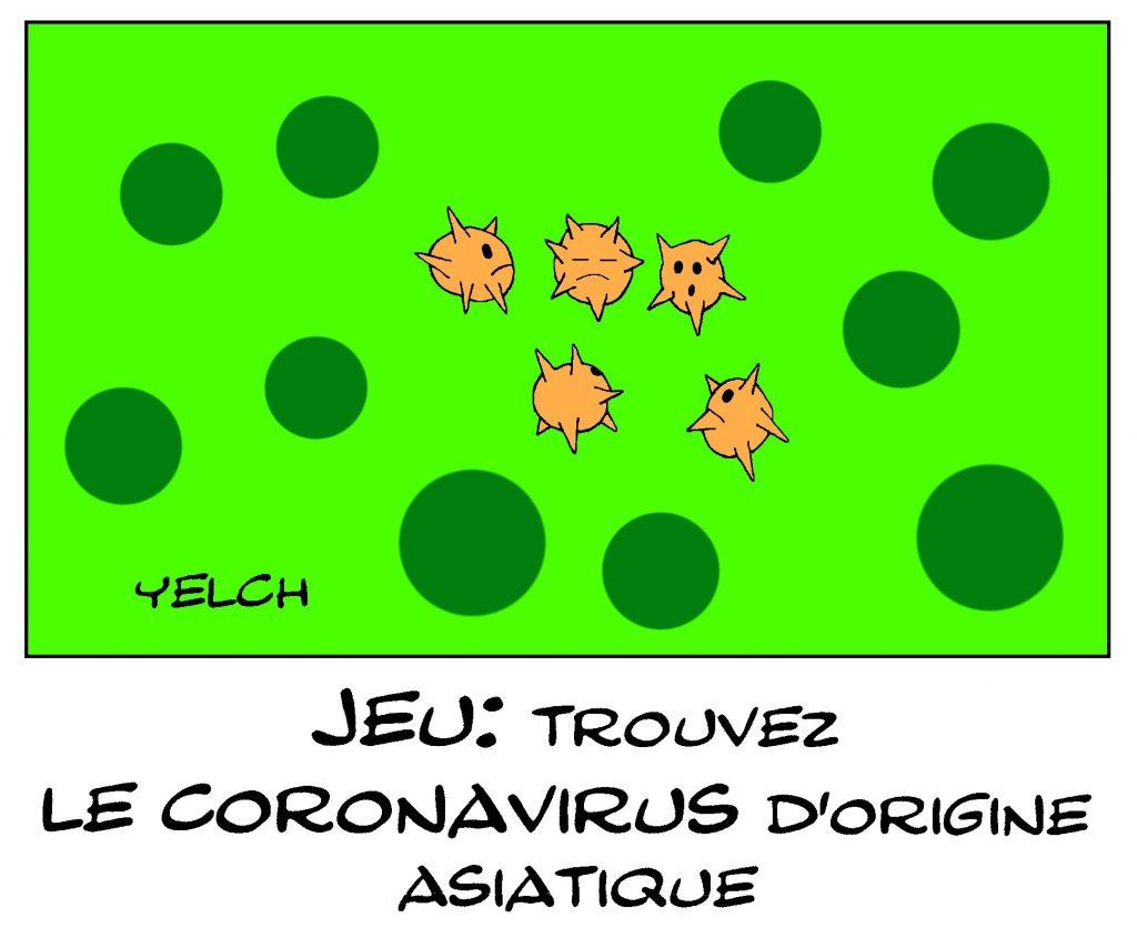 dessin de Yelch sur l'épidémie à coronavirus qui s'est déclarée en Chine à Wuhan