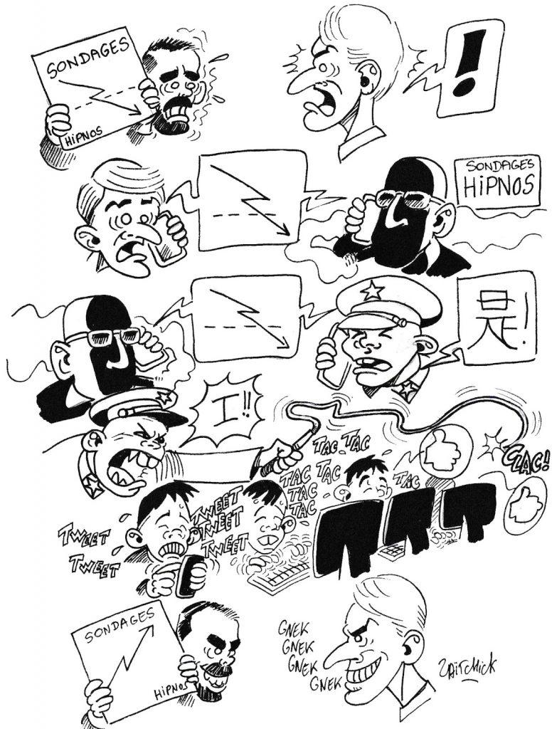 dessin humoristique de Zaïtchick sur les méthode de manipulation des chiffres par les instituts de sondages