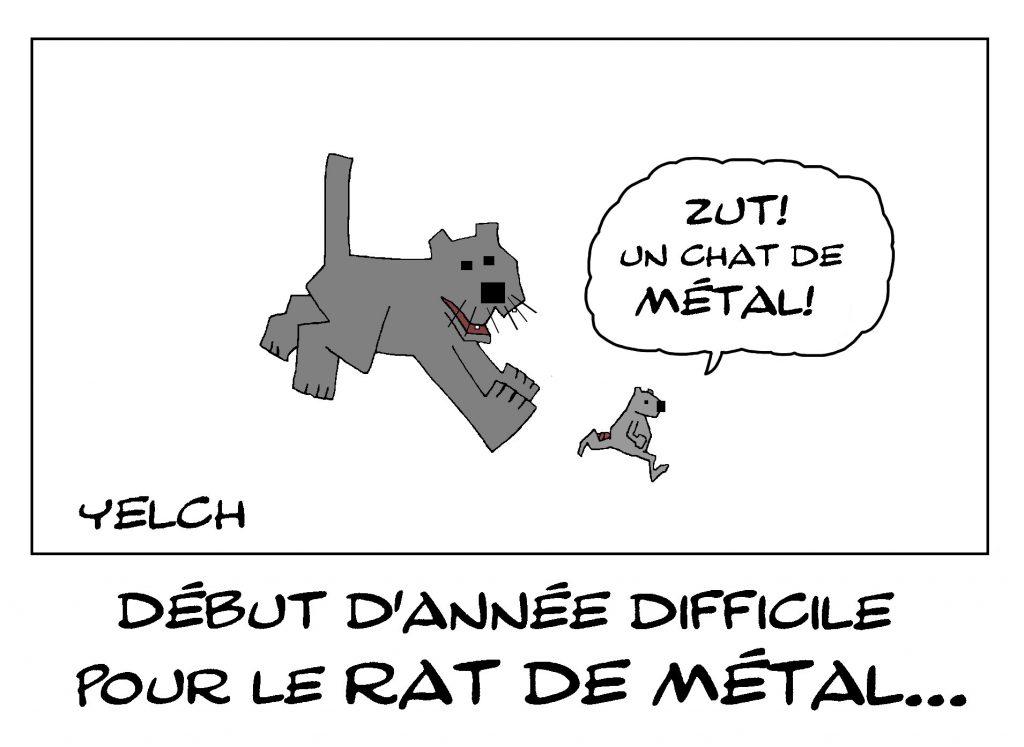 dessin de Yelch sur le nouvel an chinois et l'année du rat de métal