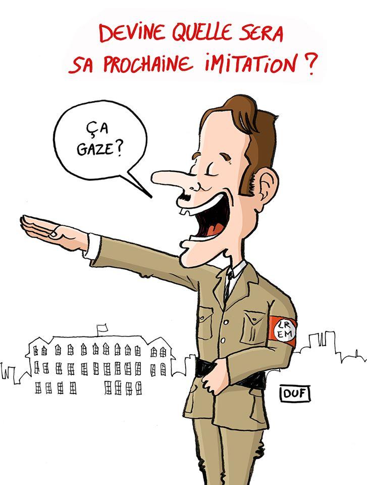 dessin d'actualité humoristique de Duf sur le voyage officiel d'Emmanuel Macron à Jérusalem et son imitation de Jacques Chirac