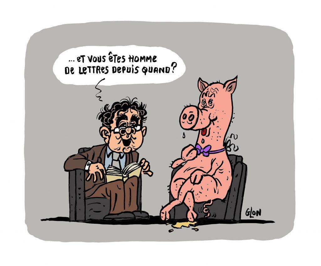 dessin humoristique de Glon sur le scandale Gabriel Matzneff et sa visite chez Bernard Pivot après son prix Renaudot