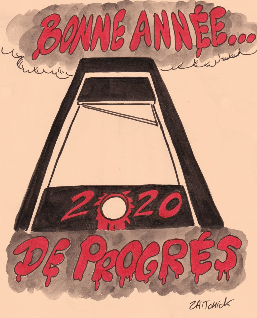 dessin humoristique de Zaïtchick sur la nouvelle année 2020 et les forces de progrès